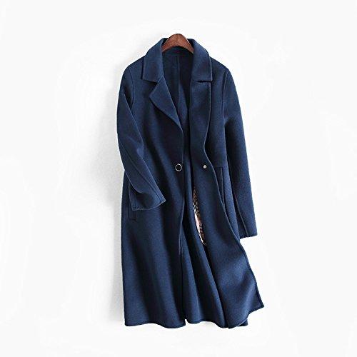 winter wolle mantel handgefertigte wolle mantel revers gürtel, doppelseitigen hennessey,m,navy blue (Button Navy Blazer Blue Wolle)