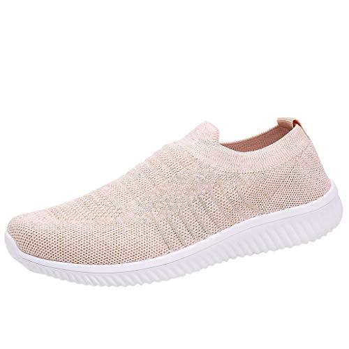 feiXIANG Laufschuhe für Damen Freizeit bequem Sneakers Schuhe Slip-on Straßenlaufschuhe(Rosa,37)