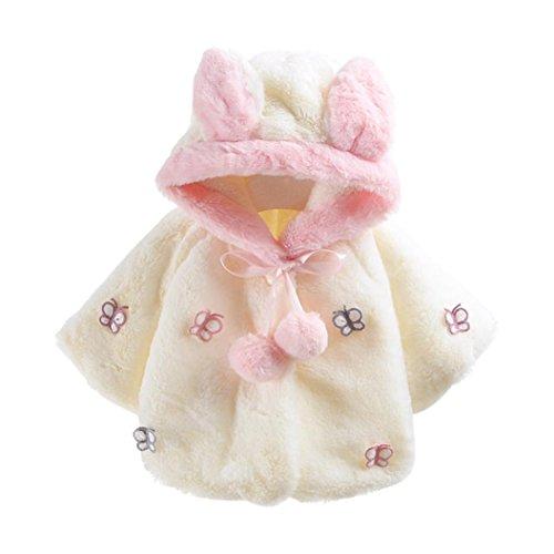 Butterfly Kindermode Hirolan Baby Säugling Mit Kapuze Mantel Herbst Winter Mantel Rosa Jacke Dick Warm Kleider Mode Weiß Oberbekleidung 1/3 Hülse (XL, Weiß) (Butterfly Set Short)