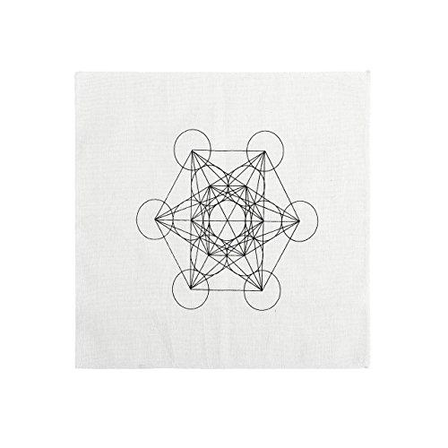 JOVIVI Gedruckte Metatrons Würfel Cube Heilige Geometrie Kristall Grid Altar Tuch Yoga Tuch 35 x 35cm