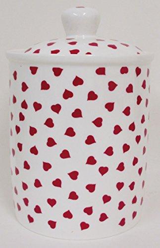 Love Hearts-Pot en porcelaine Fine coeur rouge pot décoré à la main au Royaume-Uni, livraison gratuite UK
