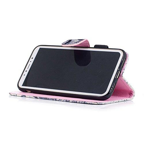 iPhone X Custodia Cover, JAWSEU Modello Colorato Verniciato Libro Disegno Rigida Copertura in Pelle portafoglio Flip Case Cover per iPhone X Custodia Supporto di Stand Chiusura Magnetica e Porta carte Gufo