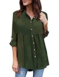 a0247c3874f Kanpola Plaid Blouses, Women Casual Sexy V Neck Stripe Long Sleeve Shirts  Loose Shirt Tops