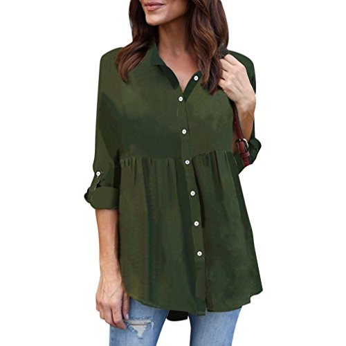 3ac2a0a5ffdf9f Kanpola Solid Color Chiffon Lapel Shirt Womens Plus Size Long Sleeve Casual  Blouse Ladies OL Work
