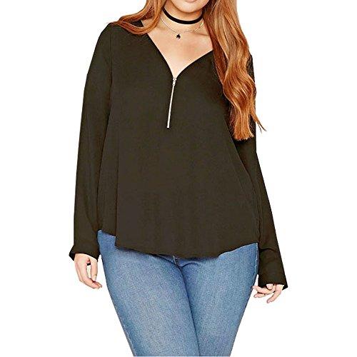 Uranus Damen Übergröße Chiffon Lange Ärmel Reißverschluss vorne T-Shirt Bluse Tunika Hemd Top