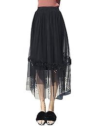 Faldas Largas Mujer Moda Fiesta Elegantes Cintura Alta Clásico Especial con  Perlas Joven Bonita Una Línea Faldas De Tul Enaguas Falda… ed29e6c38848