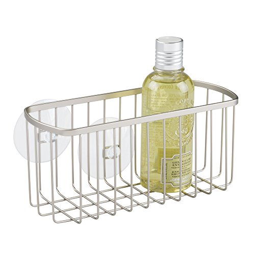 mDesign Bathroom Shower Suction Basket for Shampoo, Conditioner, Soap - Satin