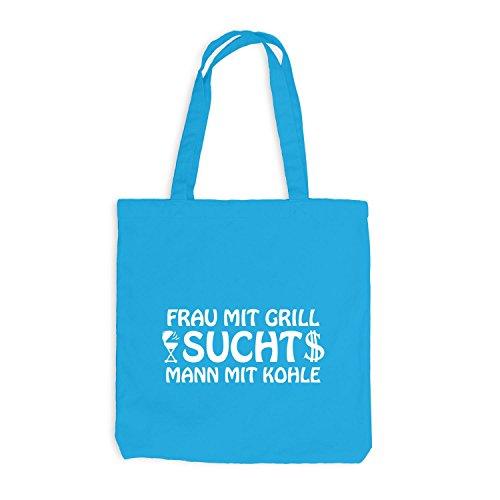 Surfblau Frau Kohle Jutebeutel Grill mit sucht mit Mann n0PHqxdU8
