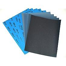 Starcke Matador - Papel lija para superficies secas y húmedas (grano 240/600/1000/1500/2000, 10 hojas, 230 x 280 mm, resistente al agua)