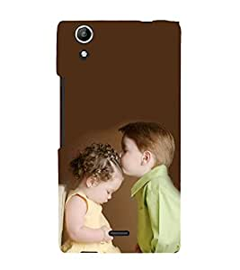 Fiobs Designer Back Case Cover for Micromax Canvas Selfie Lens Q345 (Love Kiss Girl Boy Emotions)