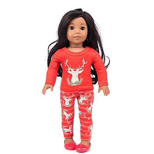 Amerikanischer Mädchen Elchanzug Anzug amerikanisches Mädchen Puppenkostüm, Malloom Chirstmas Kleidung Hosen Shirt für 18 Zoll American Boy Puppe zubehör mädchen Spielzeug