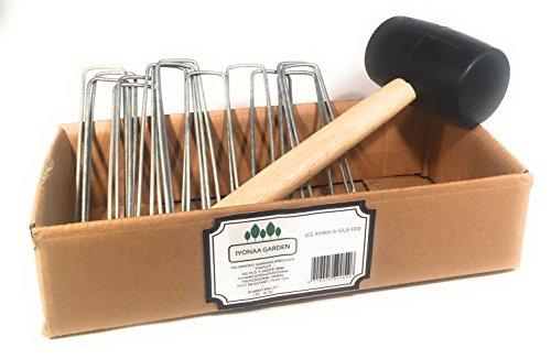 iyonaa Garden 254 x 15,2 cm/150 mm Heftklammern mit 16 Oz Gummi Hammer - Perfekt für Sicherung Landschaft Stoff, Weed, Schlauch, Netz und Hund Zaun -