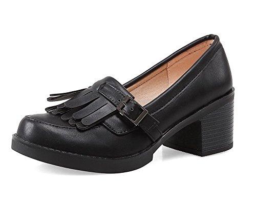 VogueZone009 Femme Boucle à Talon Correct Pu Cuir Couleur Unie Rond Chaussures Légeres Noir