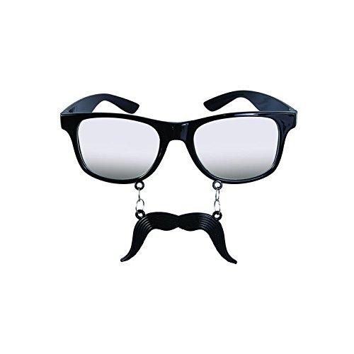 Kostüm Nerd Mustache - P'tit Clown 32300Brille, Kunststoff, mit Schnurrbart, Schwarz
