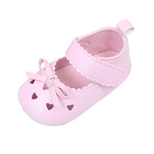 FNKDOR Babyschuhe Mädchen Neugeborene Weiche Rutschsicheren Baby Schuhe (6-12 Monate, Rosa)