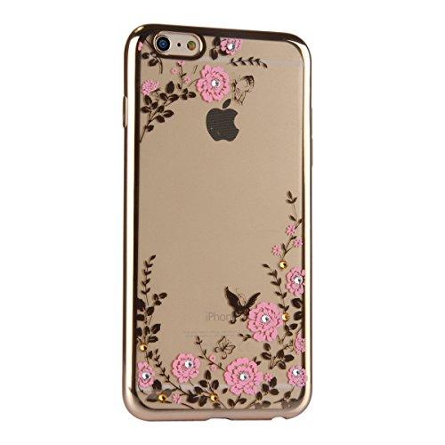 iPhone 6S Plus Silicone Case Cover,iPhone 6 Plus Coque - Felfy Ultra Slim Souple Cristal Clair Gel TPU Placage Cadre Bumper Case Coque Housse Protecteur Bling Glitter Diamant Clair Transparent Case (C Fleurs Roses