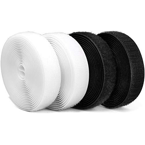 com-four® 12 m Velcro pour la Couture, Fermeture Velcro en Noir et Blanc (04 pièces - Mélange 6 m)