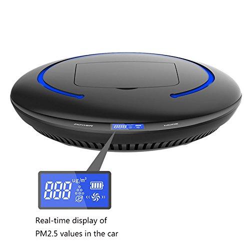 Luftreinigungsapparat Auto-Ladegerät- Intelligente Erkennung von Luftqualität Luftreiniger Mehrschicht-Filtration zusätzlich zu Formaldehyd Geruch -Luftbefeuchter Baby Zimmer Autoteile ( Farbe : Schwarz )