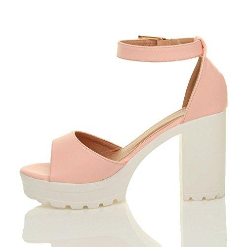 Donna tacco alto punta aperta sandali con plateau suola carrarmato taglia Rosa opaco
