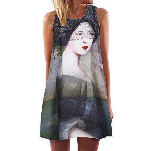 Damen Vintage A-Linie Ärmellos 3D Print Tank Weste Strandurlaub Sommerkleid Kurzes Minikleid ()