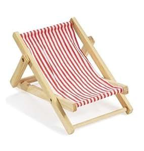 Mini chaise longue bain de soleil en bois, rouge/blanc, mP