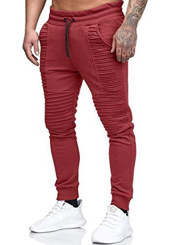Quceyu Herren Jogginghose Sporthose Fitness Sport Slim Fit Hose Casual Hose (Rot, Medium)