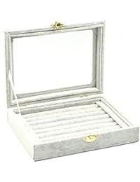 Boîte de rangement pour bijoux en velours et en verre pour bagues, boucles d'oreilles