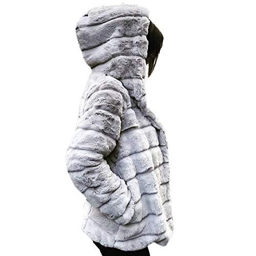 BaZhaHei Giacca Donna,Giacca Donna Invernali Elegante Caldo Pelliccia Sintetica Giacca con Cappuccio Giuntura Top-Vendita di Liquidazio