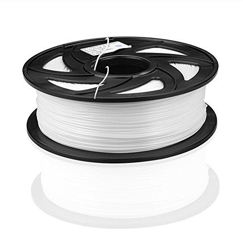 SIENOC 1 Packung 3D Drucker PLA 1.75mm Printer Filament - Mit Spule 1kg (Zusammengesetzt / Weiß)