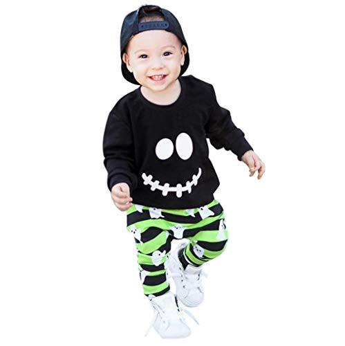 Fuibo Baby Halloween Kleidung, Kleinkind Baby Jungen Mädchen Cartoon Geist Tops Pullover Hosen Halloween Outfits Set Weihnachten Kleider Set (24M-3T(110), Schwarz)