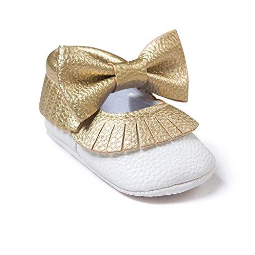 Auxma Baby schuhe mädchen Bowknot-lederner Schuh-Turnschuh Anti-Rutsch weiches Solekleinkind für 0-18 Monate (12(6-12M), FF)