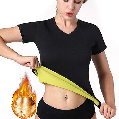 Novecasa sauna gilet camicia a maniche lunghe donna/pantaloni pantaloncini del sudore neoprene fitness corsetto per sudorazione, brucia grassi dimagrante (m, camicia corte)