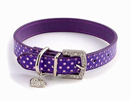 OHA-PET Hundehalsband mit Strasssteinen & Herz *Kunstleder mit Polka Dots - Punkten* für Kleine, Mittelgrosse und grosse Rassen (S, PurpleLila)
