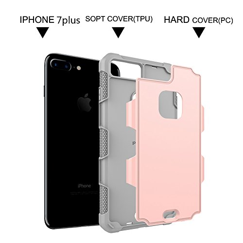 """iPhone 7 plus 5.5"""" Dual Layer Case, VMAE Heavy Duty Hybrid Armor Defender Cover, Shock Resistant Protective Case with Hard PC & Soft TPU Back Cover for iPhone 7 plus 5.5"""" (Light Green) Rose Gold"""