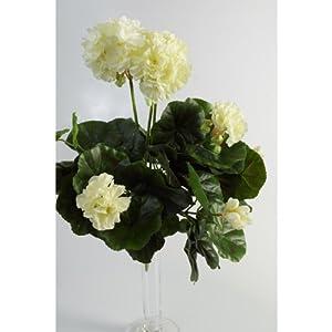 artplants.de Set de 2 x Decorativo Geranio MIA en Vara, Blanco, 35cm, Ø 30cm – Flor Artificial – Planta sintética