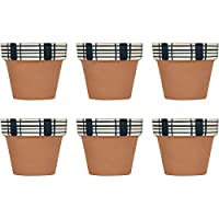 Clearance Shed Hand Painted Terracotta Flower Plant Pots Indoor or Garden Planter Set Small - Set of 6
