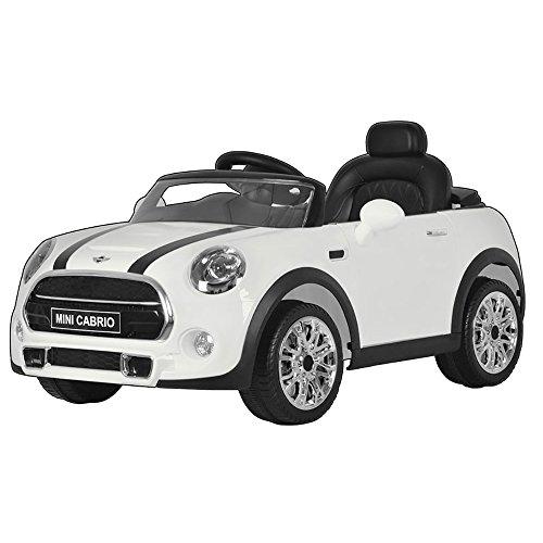 Mini Macchina Elettrica per Bambini 12V Cooper Cabrio Bianca
