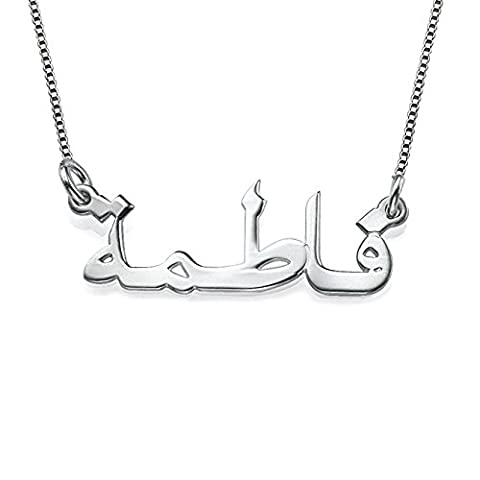 LAOFU Personalized Arabic Name Necklace in Sterling Silver 925 - Necklace with Name Pendant - Custom Made with Any