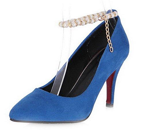 VogueZone009 Femme Pointu Boucle Pu Cuir Couleur Unie Stylet Chaussures Légeres Bleu