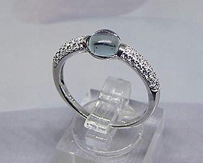 Bague Cabochon Topaze Diamants Cz Argent