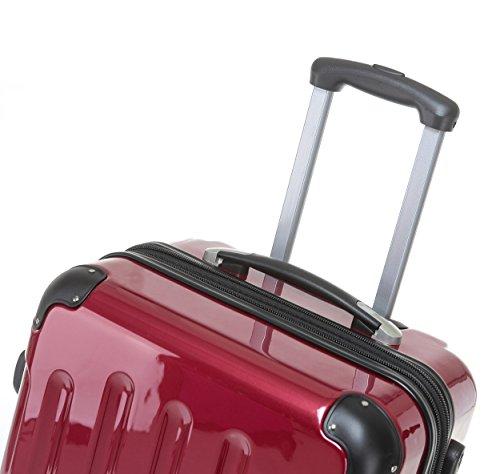 BEIBYE Hartschalen Koffer Trolley Rollkoffer Reisekoffer 4 Zwillingsrollen (Handgepäck-40L, Rot) - 6