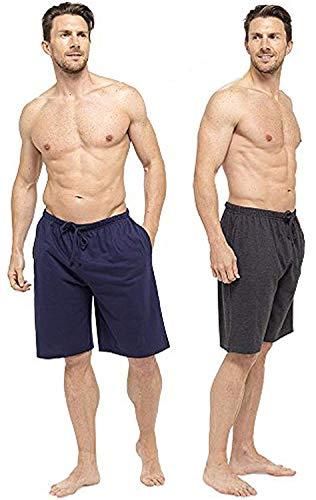 CComfort Herren Lounge-Wear Hose mit Bündchen oder Lounge-Shorts - weich, gemütlich und angenehm Nachtwäsche Hose 100% Baumwolle Herren Schlafanzughose Jogger Lounge-Pants (XL, marine und holzkohle) (Holzkohle Kurze)