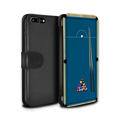 Stuff4 Coque/Etui/Housse Cuir PU Case/Cover pour Apple iPhone 7 Plus / Billard Vert Design / Jeux Collection Billard Bleu