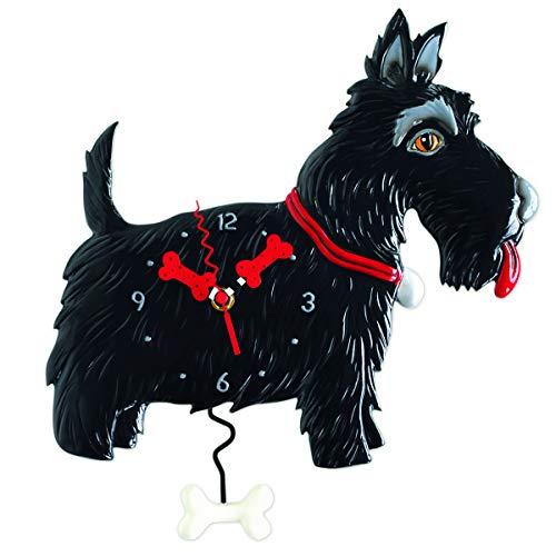 Allen Designs [P9088 - Horloge Murale Noir (Scottish Terrier) - 38x30 cm
