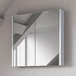 Soak Moderno armario de baño con espejo y con acabado blanco brillo