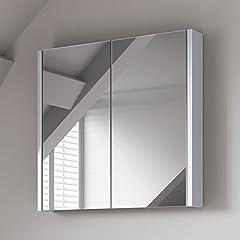 Idea Regalo - soak Armadietto da Bagno con Specchio, Design Moderno, 600 x 650mm - Bianco Lucido