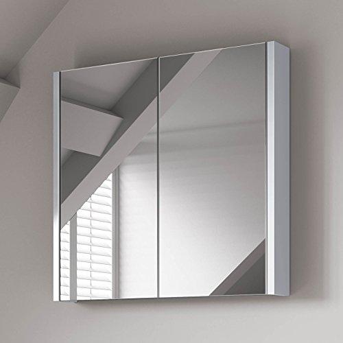 Soak armadietto da bagno con specchio, design moderno, 600 x 650mm - bianco lucido