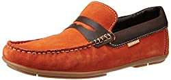 U.S. Polo Assn. Mens Orange Leather Loafers and Moccasins - 10 UK/India (44 EU)