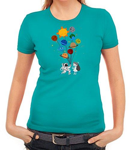 Geschenkidee Damen T-Shirt mit Valentine Love Motiv von ShirtStreet  karibikblau