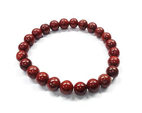 Aatm Reiki Energized Gift Natural Gemstone 7-8mm Round Beaded Red Jasper Gemstone Chakra Stretch Bracelet Unisex for Healing (Stone For Strength, stability; wisdom; stamina)